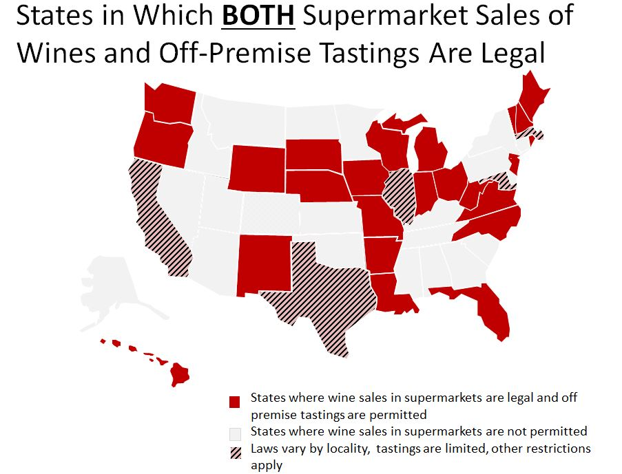 States allowing supermarket sales and on premise tastings
